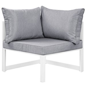 Fortuna Corner Outdoor Armchair Gray & White