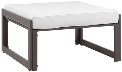 Fortuna Outdoor Ottoman Brown & White