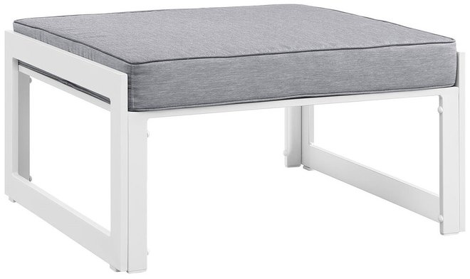 Fortuna Outdoor Ottoman White & Gray