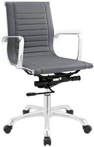 Runway Mid Back Upholstered Vinyl Office Chair Gray