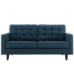 Empress Upholstered Fabric Loveseat Azure