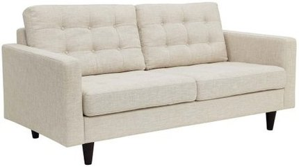 Empress Upholstered Fabric Loveseat Beige