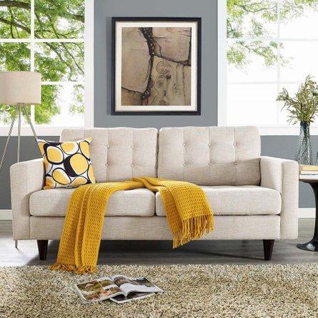 Empress Upholstered Fabric Loveseat Beige