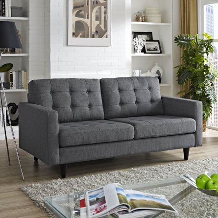 Empress Upholstered Fabric Loveseat Gray