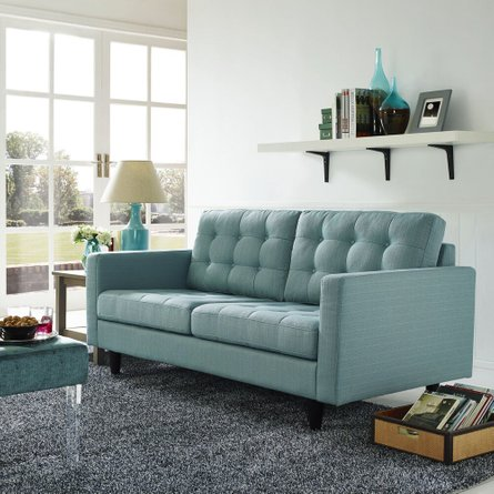 Empress Upholstered Fabric Loveseat Laguna