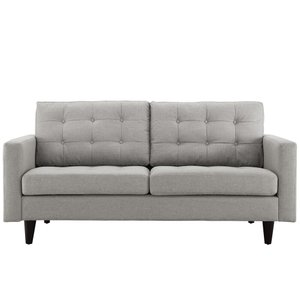 Empress Upholstered Fabric Loveseat Light Gray