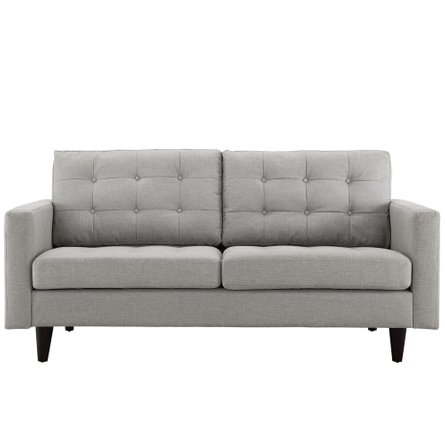 Empress Upholstered Fabric Loveseat Light Gray