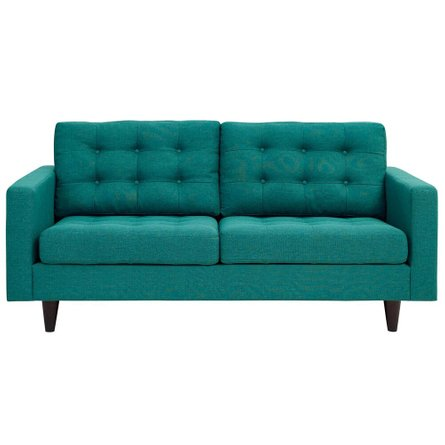 Empress Upholstered Fabric Loveseat Teal