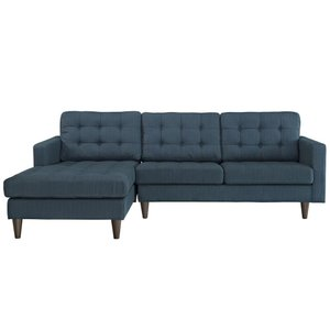 Empress Left-Extende Upholstered Fabric Sectional Sofa Azure