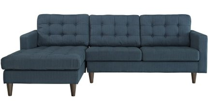 Empress Left-Extended Upholstered Fabric Sectional Sofa Azure
