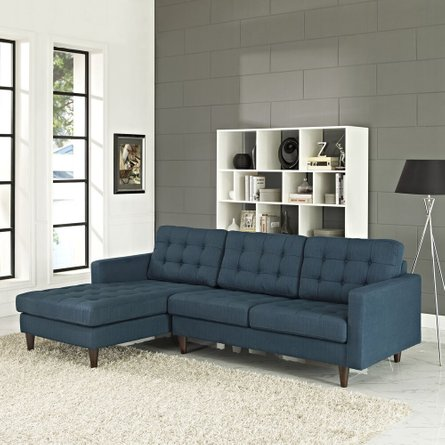 Empress Left-Extende Upholstered Fabric Sectional Sofa Azure