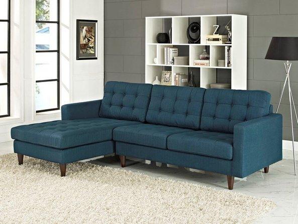 Empress Left-Extended Upholstered Fabric Sectional Sofa Azure