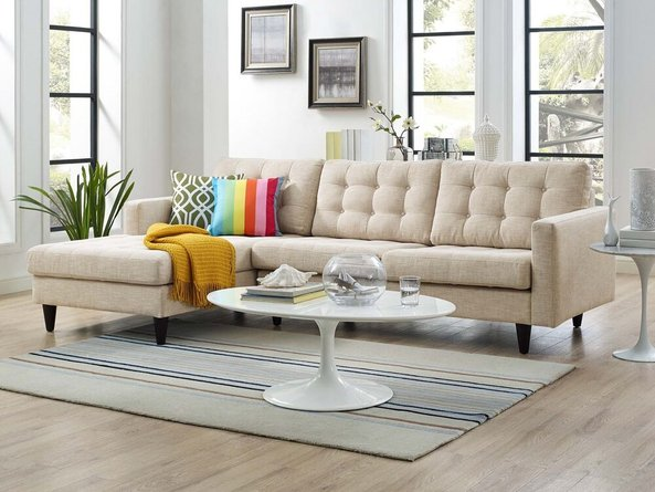Empress Left-Extended Upholstered Fabric Sectional Sofa Beige
