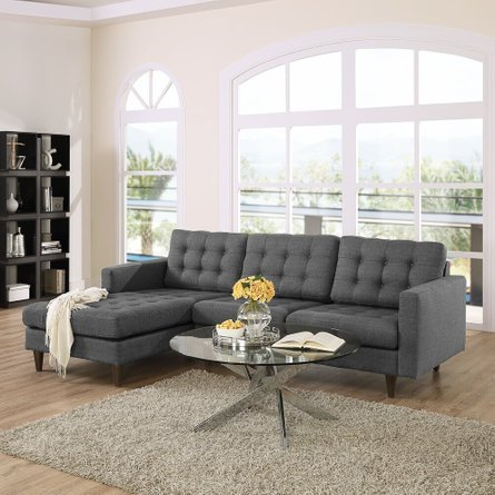 Empress Left-Extended Upholstered Fabric Sectional Sofa Gray