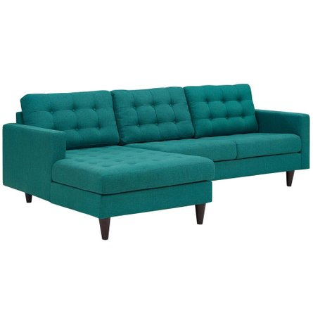 Empress Left-Extended Upholstered Fabric Sectional Sofa Teal