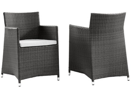Junction Outdoor Patio Armchair Brown And White (Set of 2)