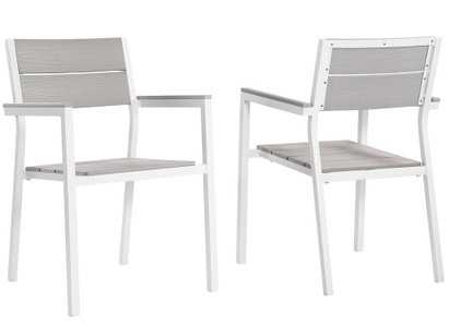 Maine Outdoor Dining Armchair White & Light Gray (Set of 2)