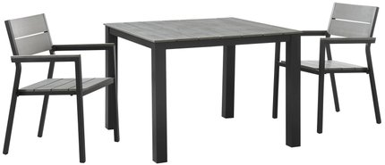"Maine 40"" Outdoor Dining Set For 2 Dark Brown & Gray"