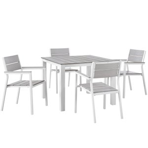 "Maine 40"" Outdoor Dining Set for 4 White & Light Gray"