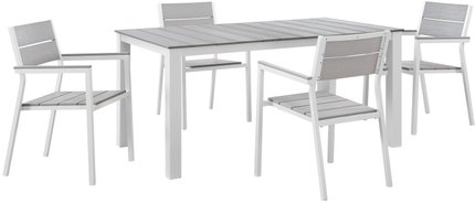 "Maine 63"" Outdoor Dining Set for 4 White & Light Gray"
