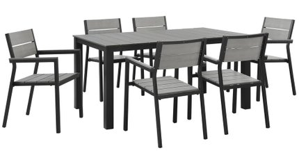 Maine Outdoor Dining Set For 6 Dark Brown & Gray