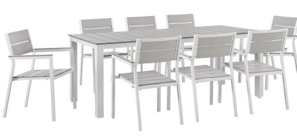 Maine Outdoor Dining Set for 8 White & Light Gray