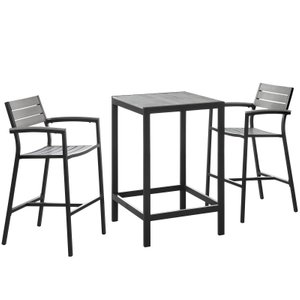 Maine Outdoor Pub Set For 2 Dark Brown & Gray