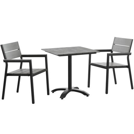 Maine Outdoor Dining Set For 2 Dark Brown & Gray