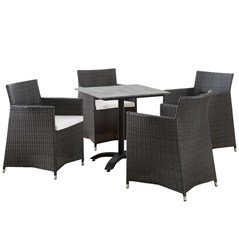 Junction Outdoor Patio Dining Set For 4 Brown And White