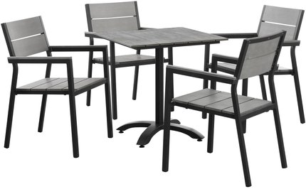 Maine Outdoor Dining Set For 4 Dark Brown & Gray