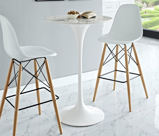 """Lippa 28"""" Round Artificial Marble Bar Table White"""