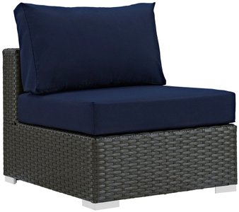 Sojourn Outdoor Armless Chair Canvas Navy