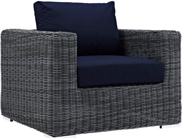 Summon Outdoor Armchair Canvas Navy