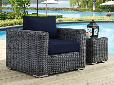 Summon Outdoor Armchair Canvas Navy