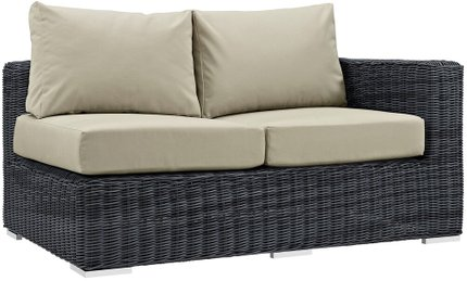 Summon Outdoor Right Arm Loveseat Canvas Antique Beige