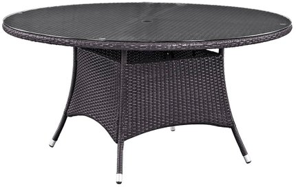 "Convene 59"" Round Outdoor Dining Table Espresso"