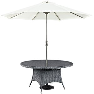 "Summon 59"" Round Outdoor Dining Table Gray"