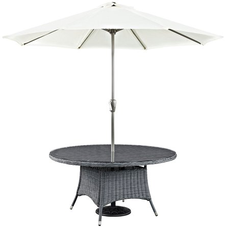 """Summon 59"""" Round Outdoor Dining Table Gray"""