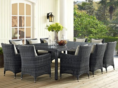 """Summon 90"""" Outdoor Dining Table Gray"""