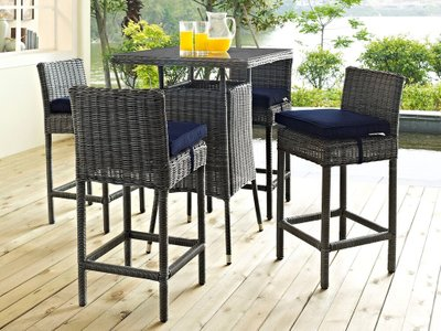Summon Outdoor Bar Stool Canvas Navy