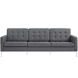 Loft Upholstered Fabric Sofa Gray