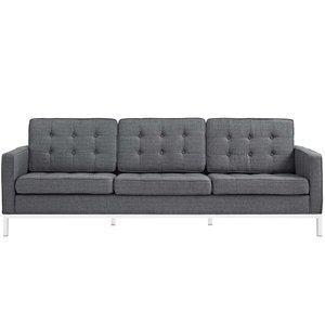 Loft Upholstered Fabric Sofa Gray