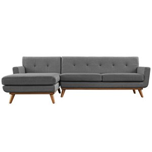Engage Left Extended Sectional Sofa Gray