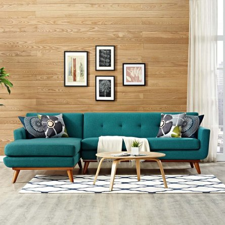 Engage Left-Extended Sectional Sofa Teal