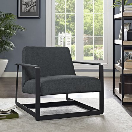 Seg Upholstered Fabric Accent Chair Gray
