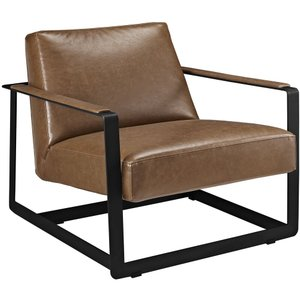 Seg Upholstered Vinyl Accent Chair Brown