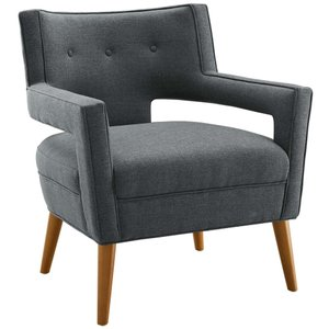 Sheer Upholstered Fabric Armchair Gray