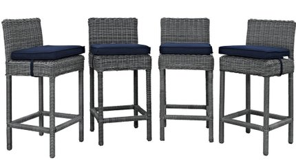 Summon Outdoor Bar Stool Canvas Navy & Gray (Set of 4)