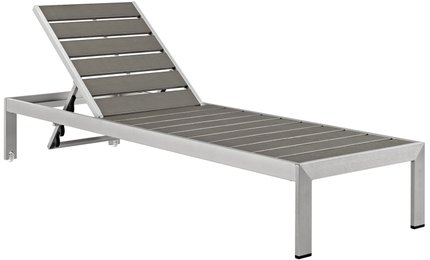 "Shore 71"" Outdoor Chaise Silver & Gray"