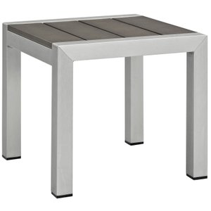 Shore Square Side Table Silver & Gray